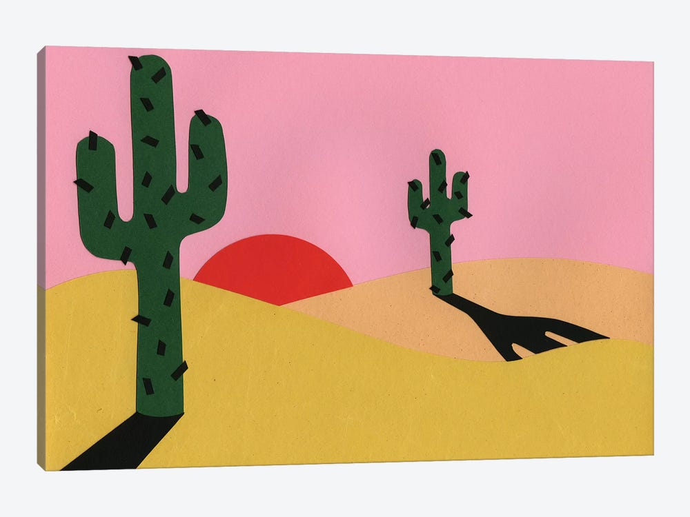 Two Cacti In The Desert Sun by Rosi Feist 1-piece Canvas Wall Art