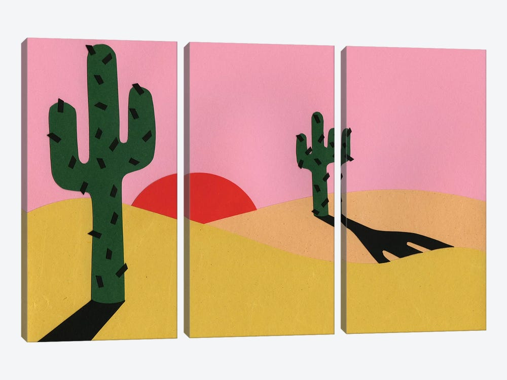 Two Cacti In The Desert Sun by Rosi Feist 3-piece Canvas Art