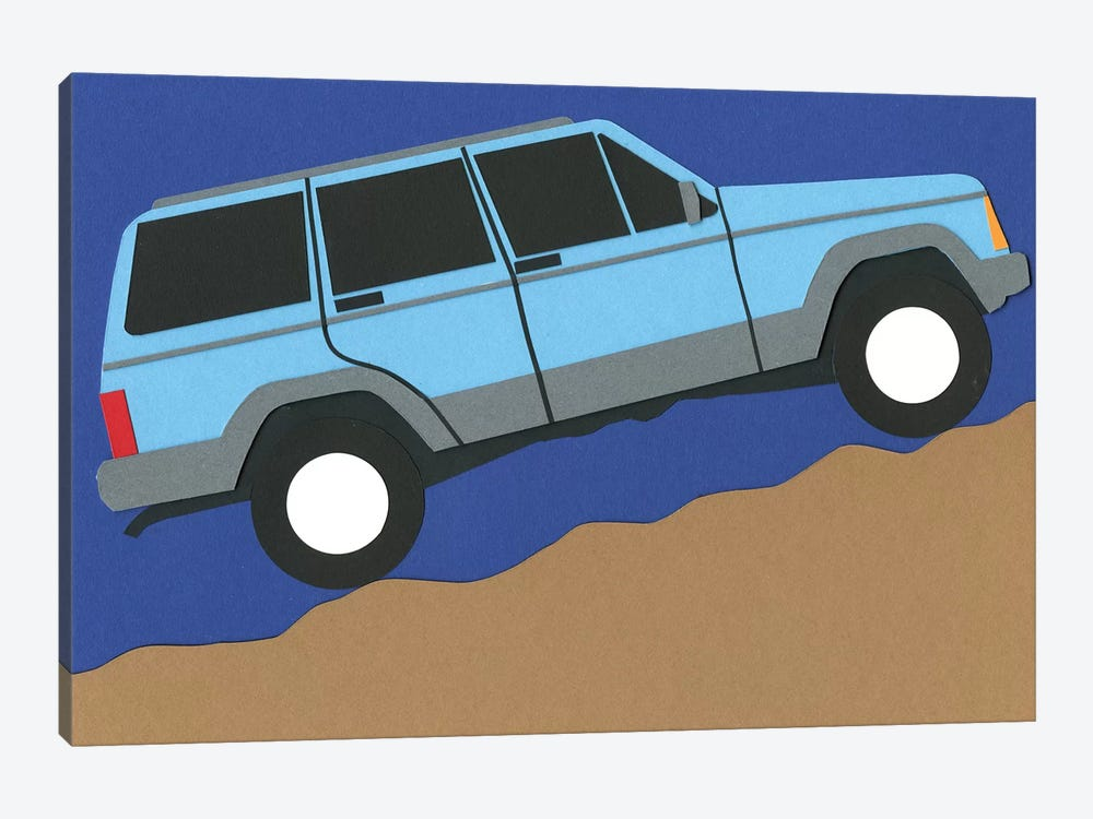 Blue SUV by Rosi Feist 1-piece Canvas Wall Art