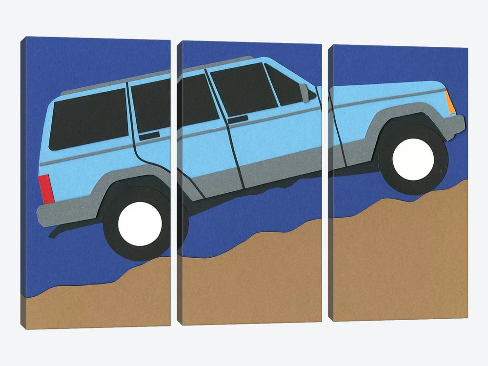 Blue SUV by Rosi Feist 3-piece Canvas Art