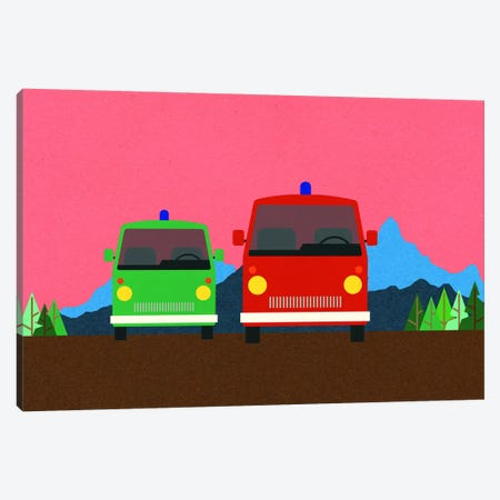 Police Bus And Fire Engine Canvas Print #RFE130} by Rosi Feist Canvas Print