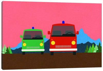 Police Bus And Fire Engine Canvas Art Print