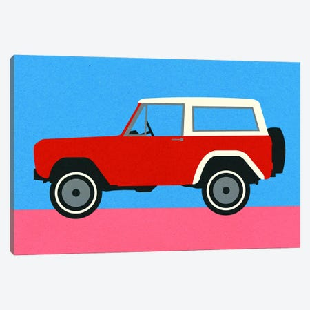 Red SUV 3-Piece Canvas #RFE132} by Rosi Feist Canvas Art Print