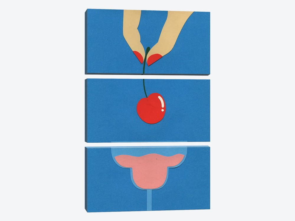 Cherry Nails II by Rosi Feist 3-piece Canvas Print