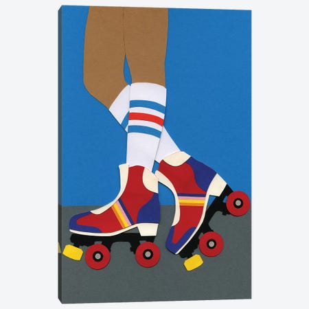 70s Roller Skate Girl Canvas Print #RFE1} by Rosi Feist Canvas Wall Art