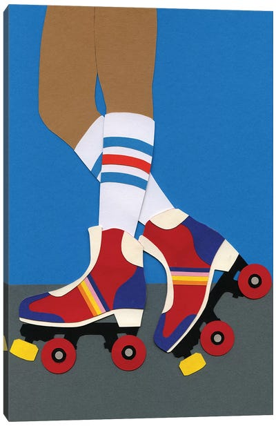 70s Roller Skate Girl Canvas Art Print