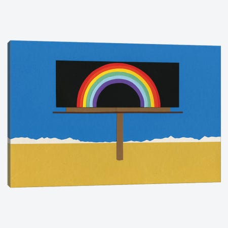 Desert Billboard With Rainbow 3-Piece Canvas #RFE29} by Rosi Feist Canvas Wall Art