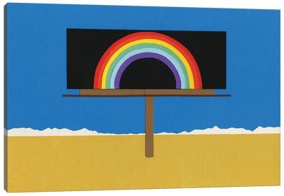 Desert Billboard With Rainbow Canvas Art Print