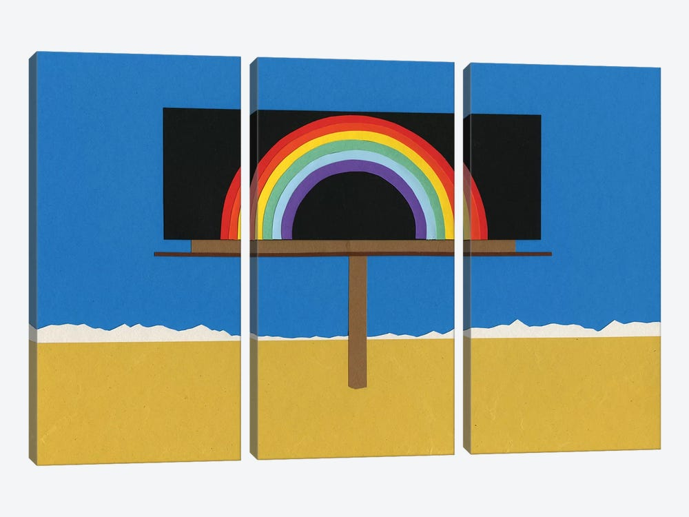 Desert Billboard With Rainbow by Rosi Feist 3-piece Canvas Art