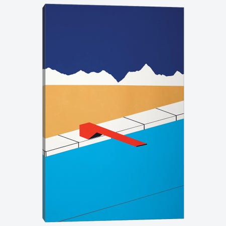 Desert Pool With Red Diving Board Canvas Print #RFE31} by Rosi Feist Canvas Art Print
