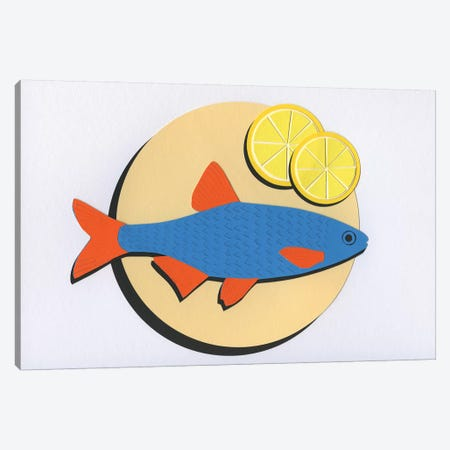 Fish On A Plate 3-Piece Canvas #RFE36} by Rosi Feist Canvas Art