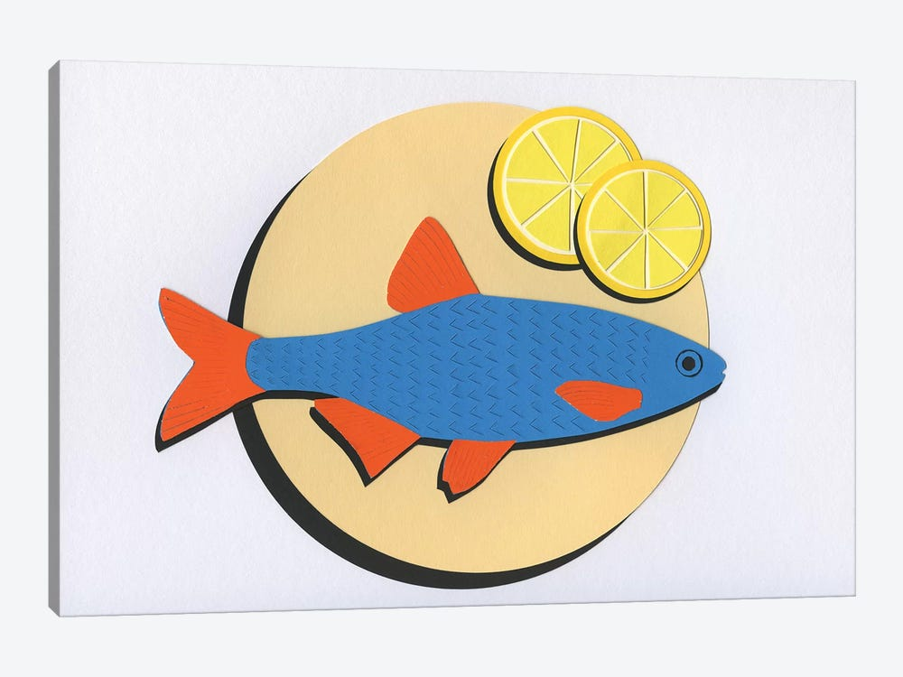 Fish On A Plate by Rosi Feist 1-piece Canvas Artwork