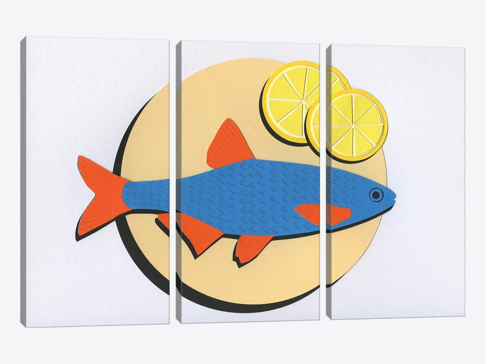 Fish On A Plate by Rosi Feist 3-piece Canvas Art