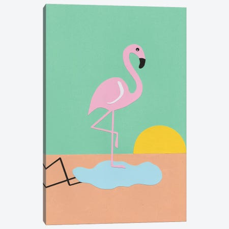Flamingo Herbert Canvas Print #RFE37} by Rosi Feist Canvas Wall Art