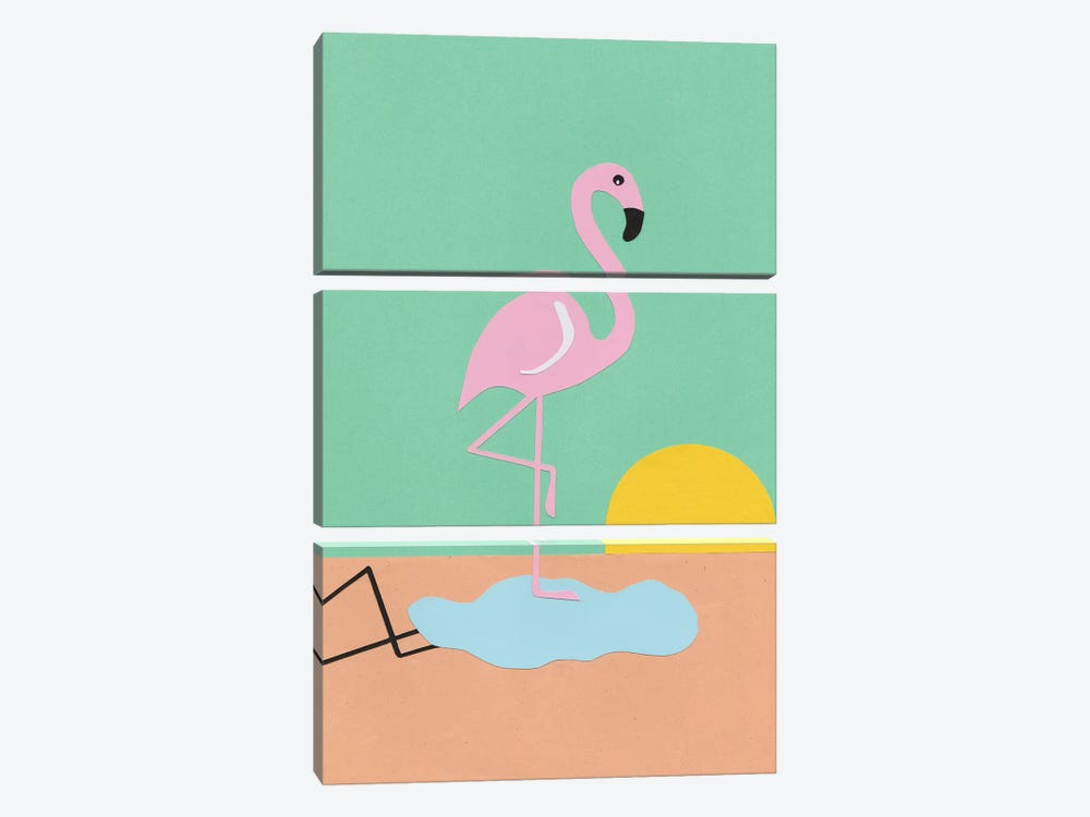 Flamingo Herbert by Rosi Feist 3-piece Art Print