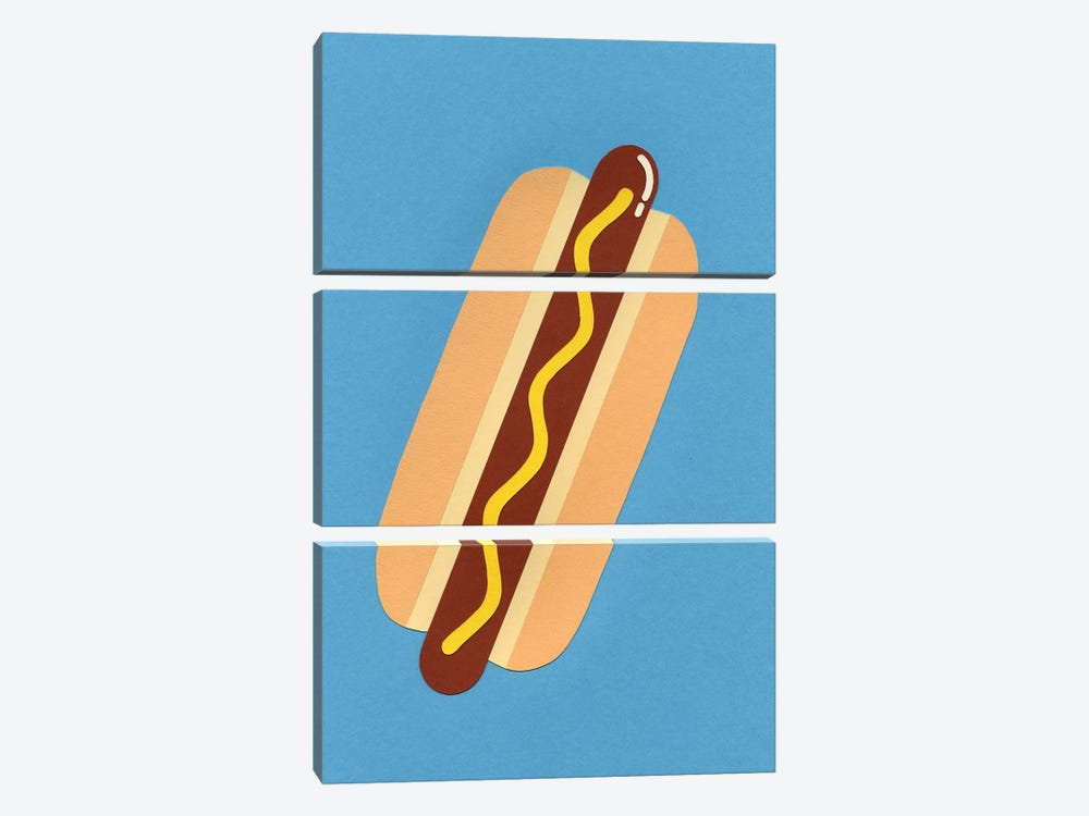 American Hot Dog by Rosi Feist 3-piece Canvas Art Print