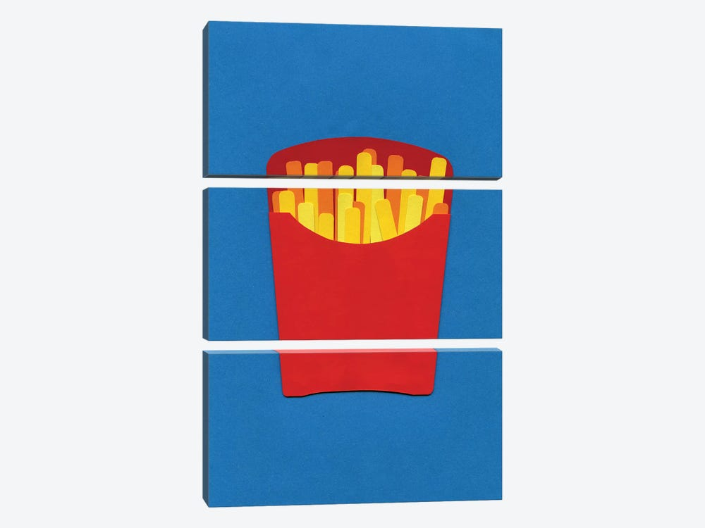 French Fries In Carton  by Rosi Feist 3-piece Canvas Artwork
