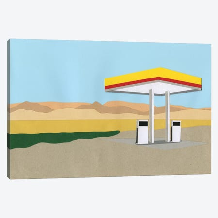 Gas Station Death Valley 3-Piece Canvas #RFE46} by Rosi Feist Canvas Print