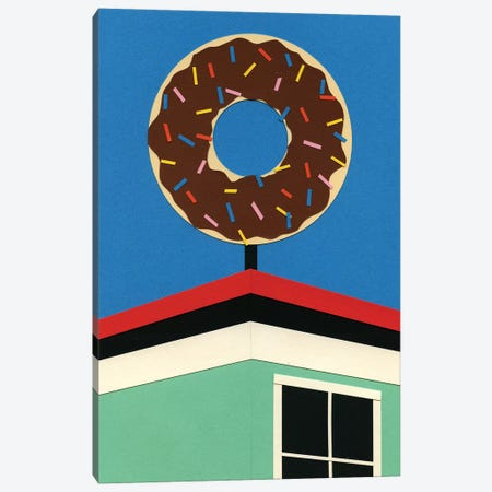 LA Donut Corner Canvas Print #RFE56} by Rosi Feist Canvas Artwork