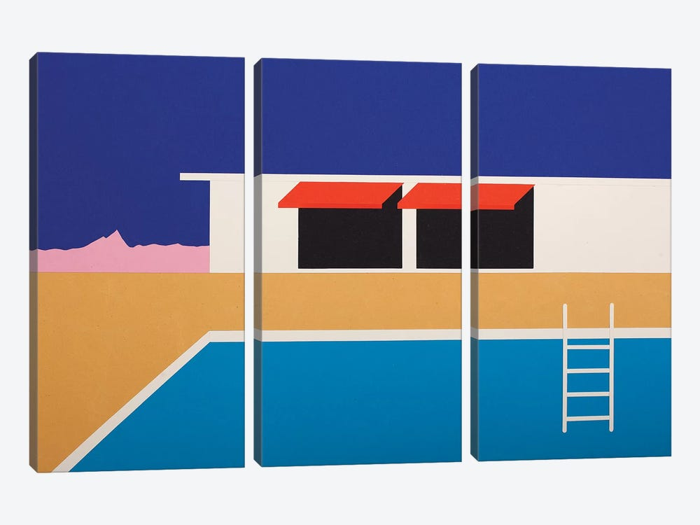 Palm Springs Pool House II by Rosi Feist 3-piece Canvas Artwork