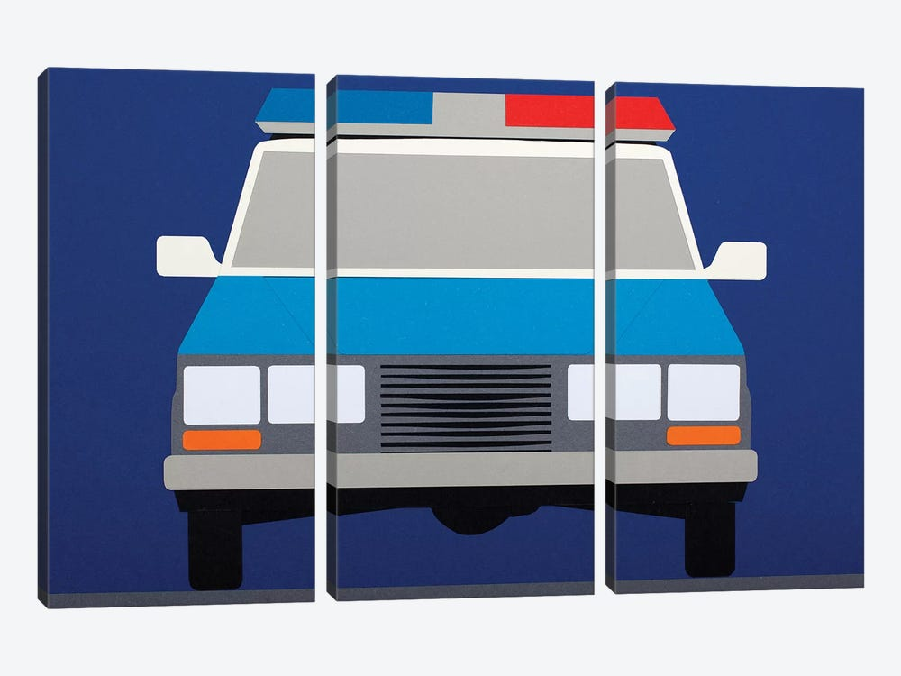 Police Car 1988 by Rosi Feist 3-piece Canvas Print