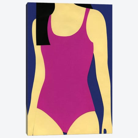 Purple Swimsuit Black Hair Canvas Print #RFE82} by Rosi Feist Canvas Artwork