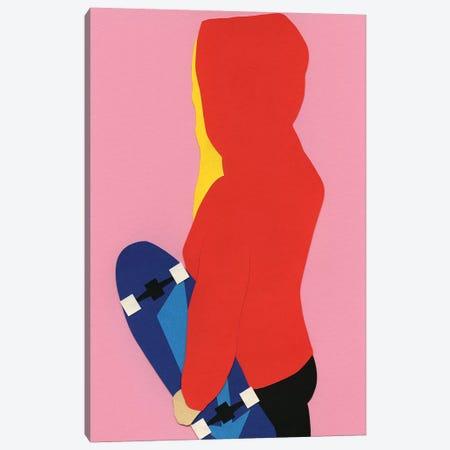 Red Hoodie Skater Girl Canvas Print #RFE84} by Rosi Feist Art Print