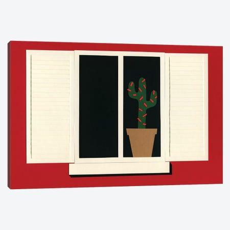 Red House White Window Canvas Print #RFE85} by Rosi Feist Art Print