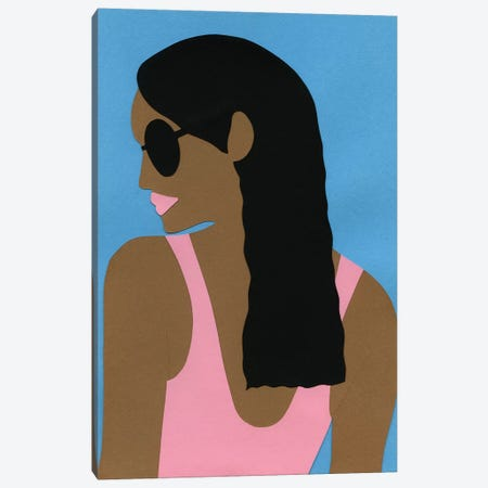 Sunglasses And Black Hair 3-Piece Canvas #RFE99} by Rosi Feist Art Print
