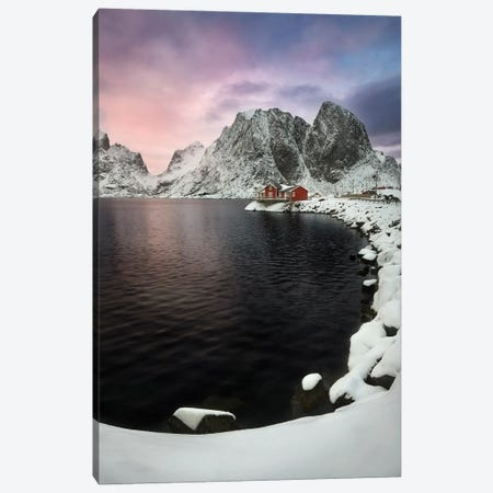 Winter Sunset In The Lofoten - Norway Canvas Print #RFL134} by Rafal Kaniszewski Canvas Wall Art