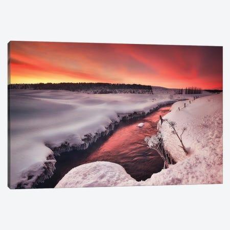 Red Sunrise - Iceland Canvas Print #RFL140} by Rafal Kaniszewski Canvas Wall Art