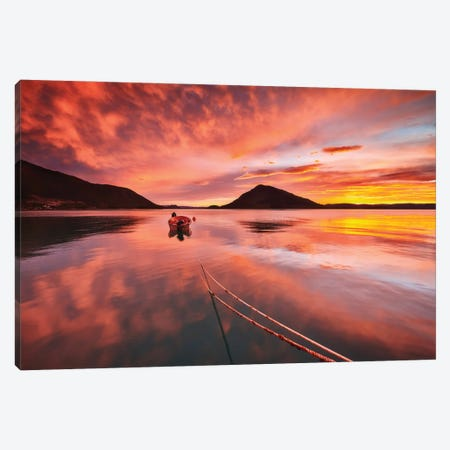 Red Sunset Over Fjord - Norway Canvas Print #RFL163} by Rafal Kaniszewski Canvas Wall Art