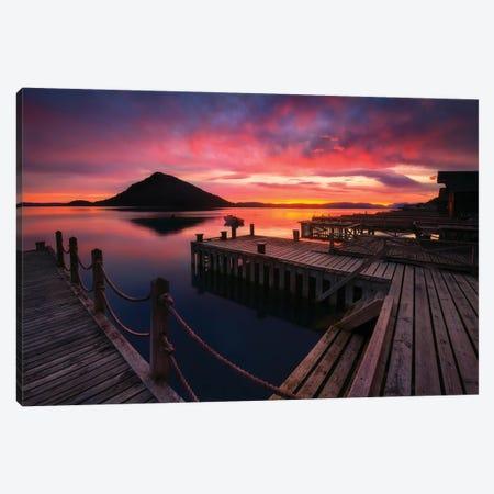 Sunset Over Fjord -Norway Canvas Print #RFL164} by Rafal Kaniszewski Art Print
