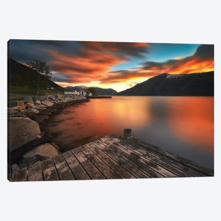 Beautiful Sunset - Norway Canvas Print #RFL168} by Rafal Kaniszewski Canvas Artwork
