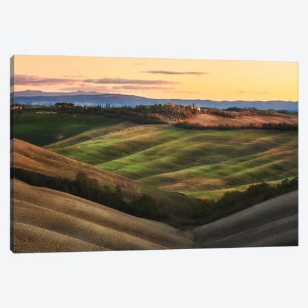 Tuscany Fields At Sunset - Italy Canvas Print #RFL207} by Rafal Kaniszewski Canvas Art