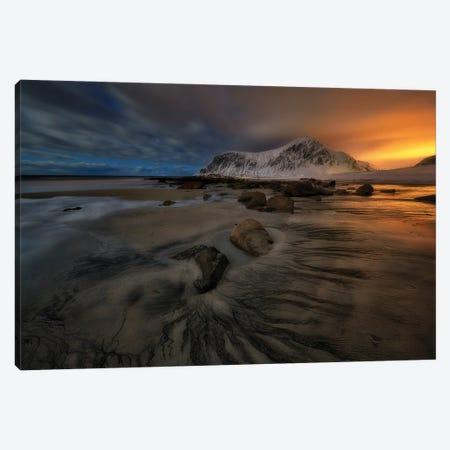 Skagsanden Beach At Night - Lofoten Canvas Print #RFL226} by Rafal Kaniszewski Canvas Wall Art