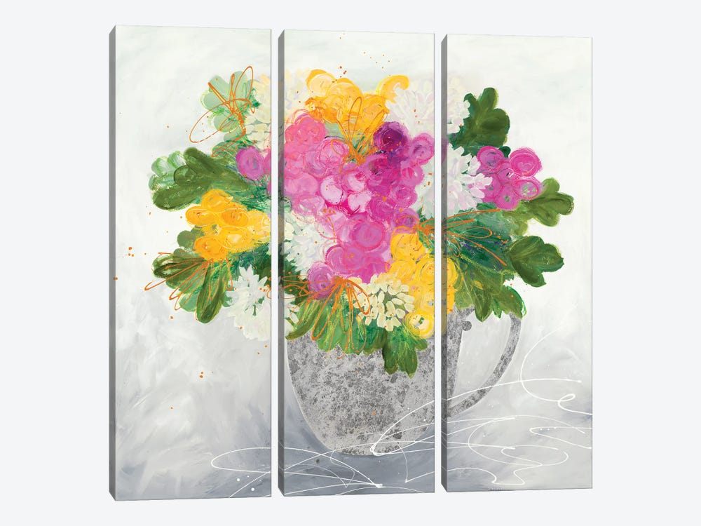 Rose Tea by Ruth Fromstein 3-piece Canvas Art