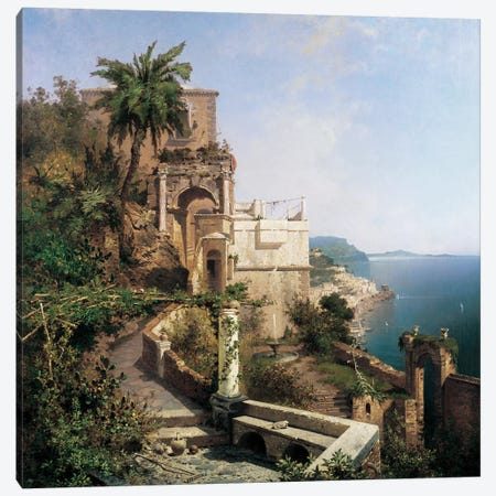 In The Garden, Amalfi Canvas Print #RFU1} by Richard Franz Unterberger Art Print