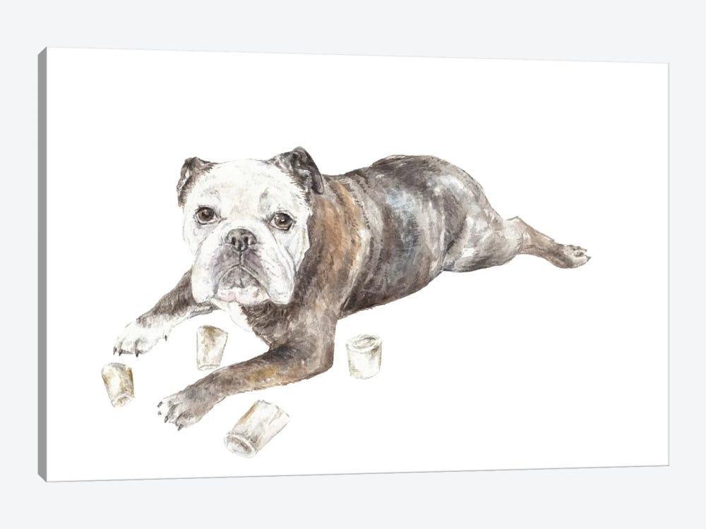 Abbey The Bulldog by Wandering Laur 1-piece Canvas Artwork