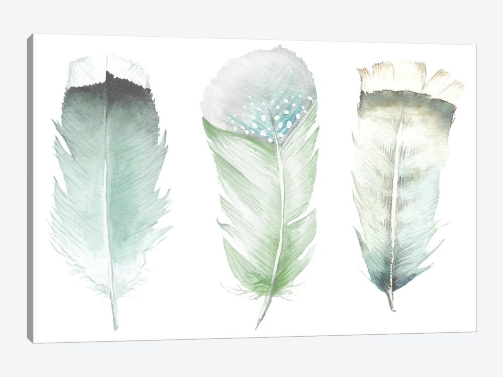 Green Feathers by Wandering Laur 1-piece Canvas Art
