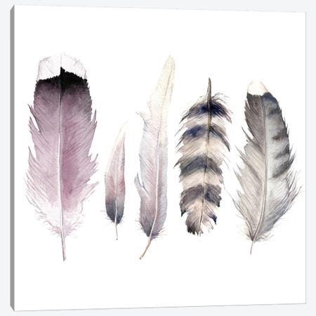 Purple Feathers Canvas Print #RGF106} by Wandering Laur Canvas Art Print