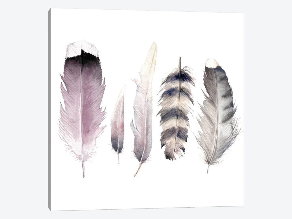 Purple Feathers by Wandering Laur 1-piece Canvas Art Print