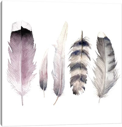 Purple Feathers Canvas Art Print