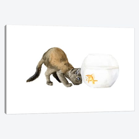 Black Cat And Goldfish Bowl Canvas Print #RGF10} by Wandering Laur Canvas Art Print