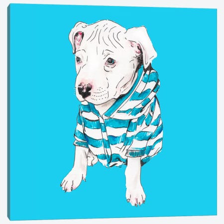 Pit Bull In T-Shirt Canvas Print #RGF114} by Wandering Laur Canvas Art