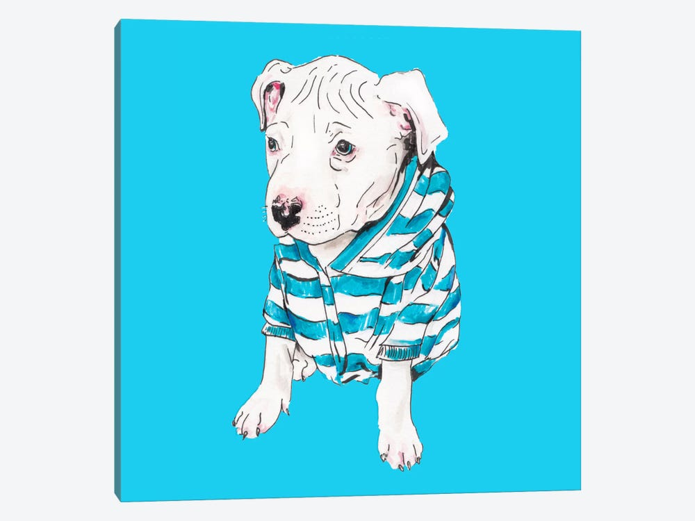 Pit Bull In T-Shirt by Wandering Laur 1-piece Canvas Artwork