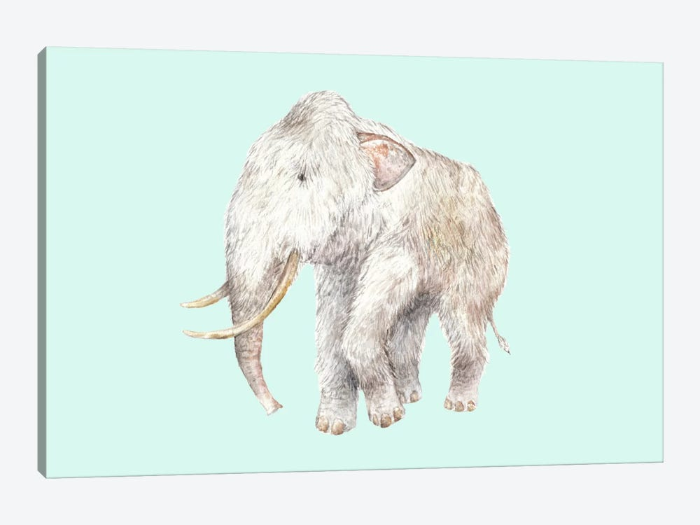 Woolly Mammoth On Blue by Wandering Laur 1-piece Canvas Wall Art