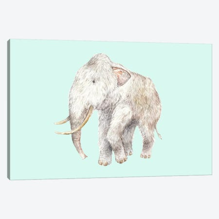 Woolly Mammoth On Blue Canvas Print #RGF121} by Wandering Laur Canvas Artwork