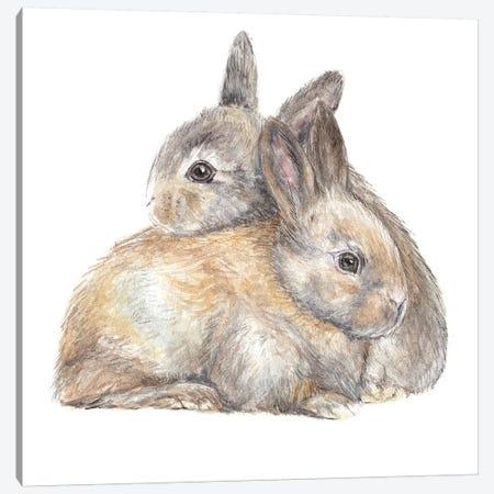 Bunny Snuggle Canvas Print #RGF129} by Wandering Laur Canvas Artwork