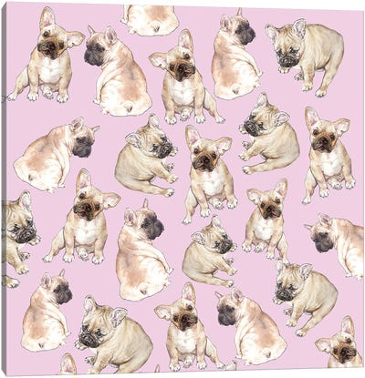 Blonde Frenchies On Pink Canvas Art Print